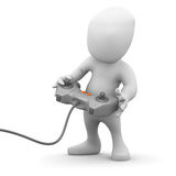 pequeño hombre 3d que juega un videojuego ilustración del vector