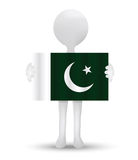 pequeño hombre 3d que sostiene una bandera de la República de Pakistán islámica Imagen de archivo libre de regalías