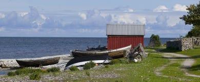 Pequeño huts.GN pesquero fotografía de archivo