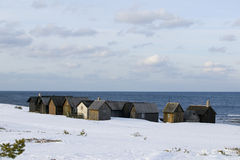 Pequeño huts.JH pesquero foto de archivo libre de regalías