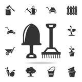 pequeño icono de los utensilios de jardinería Sistema detallado de utensilios de jardinería y de iconos de la agricultura Diseño  Foto de archivo libre de regalías