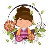 Pequeño kawaii japonés de la muchacha con el carácter de las flores ilustración del vector