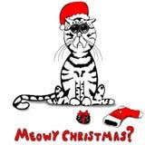 Pequeño Kitty triste era travieso - tan Santa Brought un terrón del carbón Foto de archivo libre de regalías