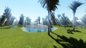 Pequeño lago apacible entre los árboles de palmas en la luz del día ilustración del vector