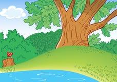 Pequeño lago cartoon stock de ilustración