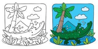 Pequeño libro de colorear del cocodrilo ilustración del vector
