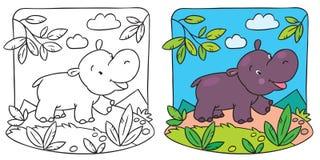 Pequeño libro de colorear del hipopótamo stock de ilustración