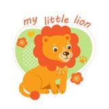 Pequeño Lion Vector Illustration Vector de la historieta del tema de los bebés Imagen linda para los niños Stock de ilustración
