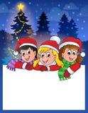 Pequeño marco con los niños de la Navidad Imágenes de archivo libres de regalías