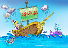 Pequeño marinero en el barco Imágenes de archivo libres de regalías