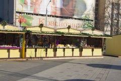 Pequeño mercado en Krasnaya durante celebraciones del Año Nuevo Fotos de archivo
