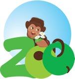 Pequeño mono con las flores en su mano ilustración del vector