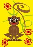 Pequeño mono de la animación en el fondo aislado Fotografía de archivo