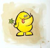 Pequeño monstruo amarillo abstracto Fotografía de archivo libre de regalías