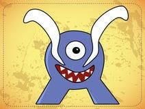 Pequeño monstruo azul divertido ilustración del vector