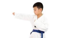 Pequeño muchacho asiático del karate en el kimono blanco Fotografía de archivo libre de regalías