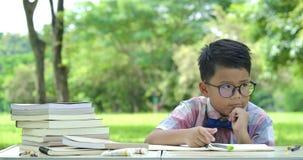 Pequeño muchacho asiático elegante que aprende en el parque y que busca para una idea o una solución almacen de metraje de vídeo