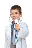 Pequeño muchacho del doctor con el stehoscope fotografía de archivo libre de regalías