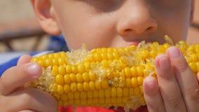 Pequeño muchacho hambriento que come maíz en la playa del mar Foco en el maíz hervido Primer almacen de metraje de vídeo