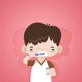 Pequeño muchacho lindo que cepilla sus dientes por la mañana Imagenes de archivo