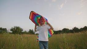 Pequeño muchacho que juega con la cometa en el campo en la puesta del sol almacen de video
