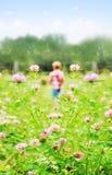 Pequeño muchacho que juega en un prado fotos de archivo
