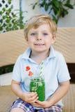 Pequeño muchacho rubio que bebe el jugo sano de la sandía en verano Imagen de archivo libre de regalías