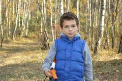 Pequeño muchacho serio en bosque del otoño Fotos de archivo libres de regalías