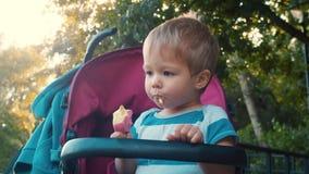 Pequeño niño con helado en el parque almacen de metraje de vídeo