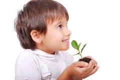 Pequeño niño lindo que sostiene la planta verde imagenes de archivo