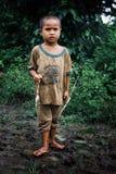 Pequeño niño lindo que sostiene una rana en la selva tropical rural del campo de Asia sudoriental fotografía de archivo