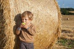 Pequeño niño que come la manzana con una bala de heno grande en campo Imagenes de archivo