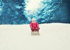 Pequeño niño sledding en el invierno Fotografía de archivo