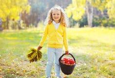 Pequeño niño sonriente de la muchacha con las hojas y la cesta de arce Imagen de archivo libre de regalías