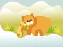 Pequeño oso con su madre Fotografía de archivo
