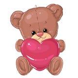 Pequeño oso de peluche lindo con el corazón rosado grande Tarjeta de felicitación Día del `s de la tarjeta del día de San Valentí Imágenes de archivo libres de regalías