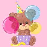 Pequeño oso de peluche lindo con la caja y los globos de regalo Tarjeta de felicitación del cumpleaños Momento feliz Enhorabuena  Imagenes de archivo
