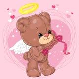 Pequeño oso de peluche lindo del ángel con la flecha del cupido en fondo del corazón Tarjeta de felicitación con día del ` s de l Fotografía de archivo