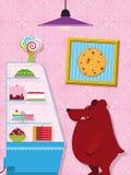 Pequeño oso hambriento en un departamento de la confitería libre illustration