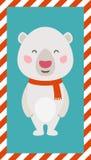 Pequeño oso polar Tarjeta de la Navidad y del Año Nuevo Foto de archivo
