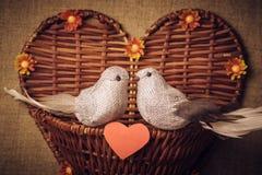 Pequeño pájaro dos los amantes, corazón Imagen de archivo libre de regalías