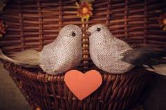 Pequeño pájaro dos los amantes, corazón Imagen de archivo