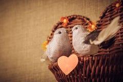 Pequeño pájaro dos los amantes, corazón Imágenes de archivo libres de regalías