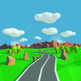Pequeño paisaje con el camino hacia las montañas libre illustration