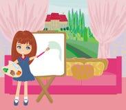 Pequeño paisaje de la pintura de la muchacha del artista de la ventana Fotografía de archivo