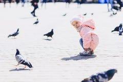 pequeño paseo lindo del bebé en cuadrado con los pájaros Foto de archivo