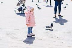 pequeño paseo lindo del bebé en cuadrado con los pájaros Imagen de archivo libre de regalías