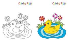 Pequeño pato de la página que colorea Imagen de archivo libre de regalías