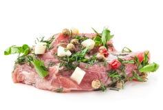 Pequeño pedazo de carne cruda con las especias Foto de archivo libre de regalías