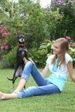 Pequeño perro lindo que juega con una chica joven Foto de archivo libre de regalías